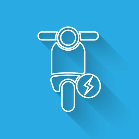White Electric scooter line icon isolated with long shadow. Vector Illustration