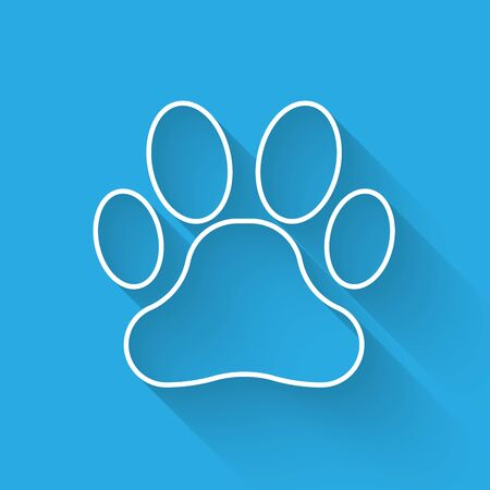 White Paw print line icon isolated with long shadow. Dog or cat paw print. Animal track. Vector Illustration 向量圖像