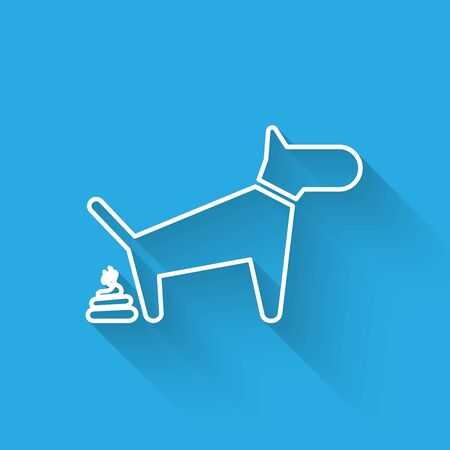 White Dog pooping line icon isolated with long shadow. Dog goes to the toilet. Dog defecates. The concept of place for walking pets. Vector Illustration