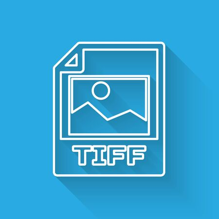White TIFF file document icon. Download tiff button line icon isolated with long shadow. TIFF file symbol. Vector Illustration