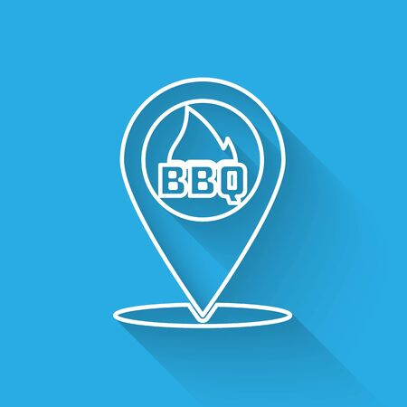 White Map pointer with barbecue line icon isolated with long shadow. Fire flame icon. Barbecue and BBQ grill symbol. Vector Illustration