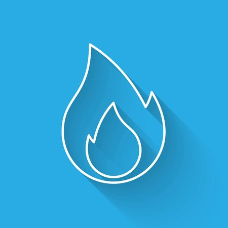 White Fire flame line icon isolated with long shadow. Heat symbol. Vector Illustration
