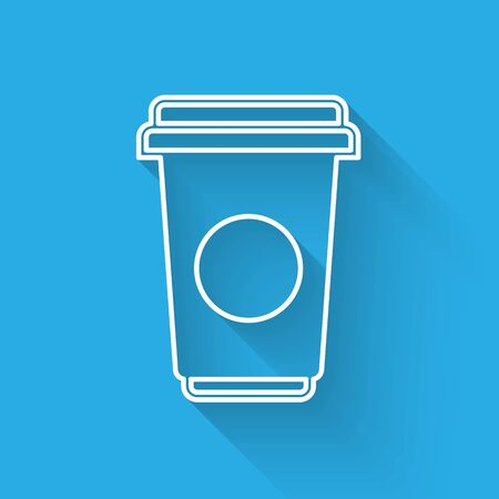 White Coffee cup line icon isolated with long shadow. Disposable coffee cup with hot coffee. Vector Illustration