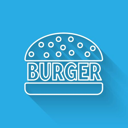White Burger line icon isolated with long shadow. Hamburger icon. Cheeseburger sandwich sign. Vector Illustration