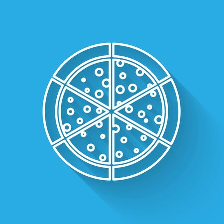 White Pizza line icon isolated with long shadow. Vector Illustration Illustration
