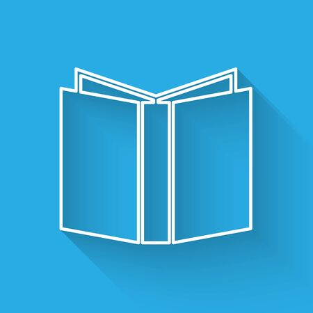 White line Open book icon isolated with long shadow. Vector Illustration
