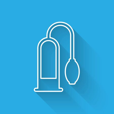 White line Penis pump icon isolated with long shadow. Penis enlarger. Sex toy for men. Vacuum pump with a blower to increase the penis. Vector Illustration