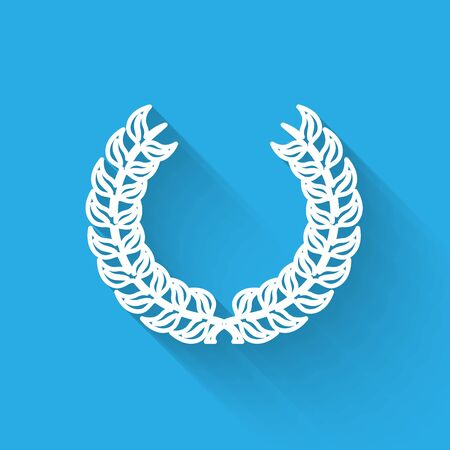 White line Laurel wreath icon isolated with long shadow. Triumph symbol. Vector Illustration