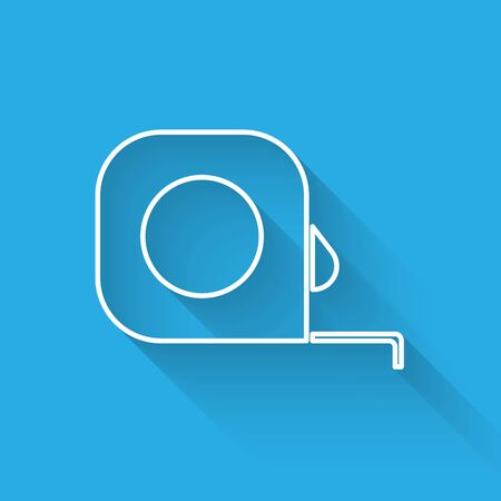 White line Roulette construction icon isolated with long shadow. Tape measure symbol. Vector Illustration