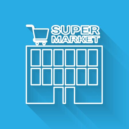 White line Supermarket building with shopping cart icon isolated with long shadow. Shop or store. Mall building. Vector Illustration Illustration