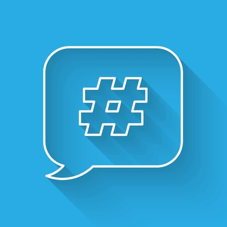 White line Hashtag speech bubble icon isolated with long shadow. Concept of number sign, social media marketing, micro blogging. Vector Illustration Illusztráció