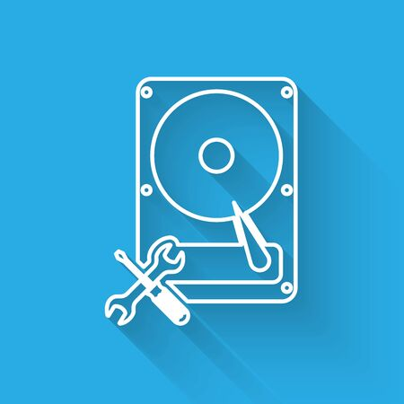 White line Hard disk drive with screwdriver and wrench icon isolated with long shadow. Adjusting, service, setting, maintenance, repair, fixing. Vector Illustration Illustration