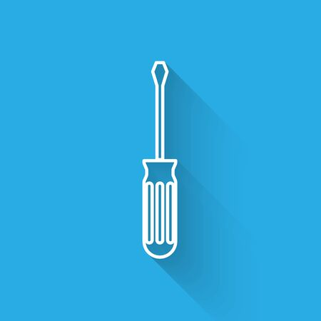 White line Screwdriver icon isolated with long shadow. Service tool symbol. Vector Illustration