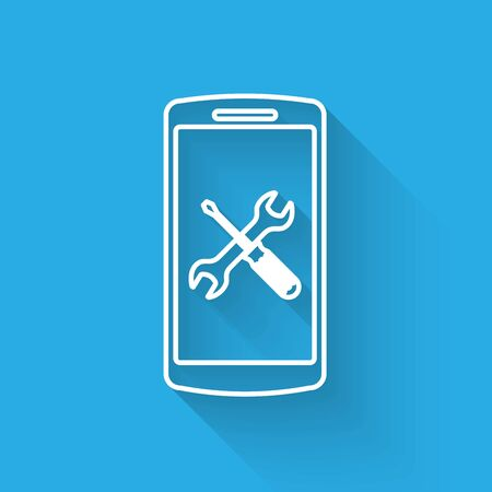 White line Smartphone with screwdriver and wrench icon isolated with long shadow. Adjusting, service, setting, maintenance, repair, fixing. Vector Illustration