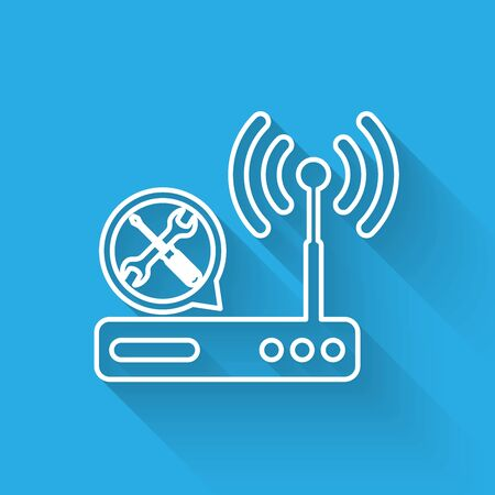 White line Router  with screwdriver and wrench icon isolated with long shadow. Adjusting, service, setting, maintenance, repair, fixing. Vector Illustration 向量圖像