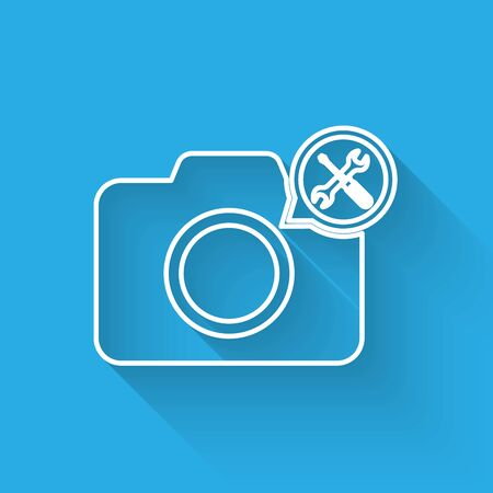 White line Photo camera with screwdriver and wrench icon isolated with long shadow. Adjusting, service, setting, maintenance, repair, fixing. Vector Illustration