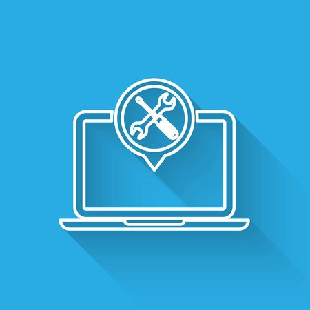 White line Laptop with screwdriver and wrench icon isolated with long shadow. Adjusting, service, setting, maintenance, repair, fixing. Vector Illustration
