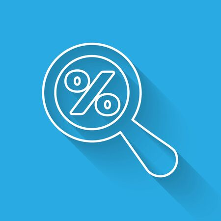 White Magnifying glass with percent discount line icon isolated with long shadow. Discount offers searching. Search for discount sale sign. Vector Illustration Banque d'images - 125335907