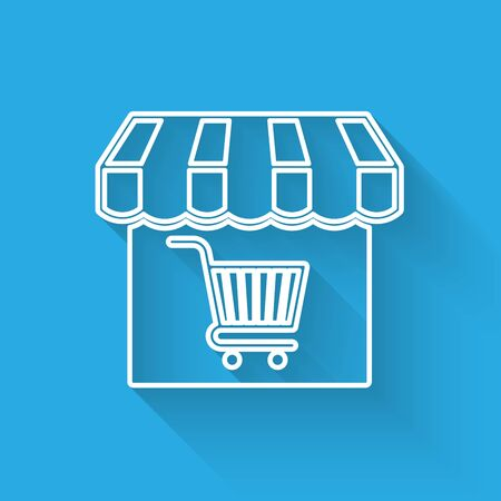 White Shopping building or market store with shopping cart line icon isolated with long shadow. Shop construction. Supermarket basket symbol. Vector Illustration Illustration