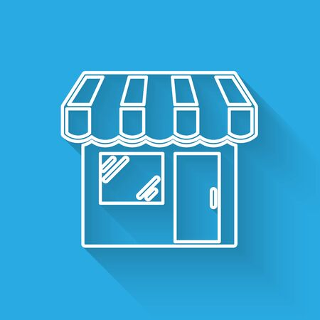 White Shopping building or market store line icon isolated with long shadow. Shop construction. Vector Illustration