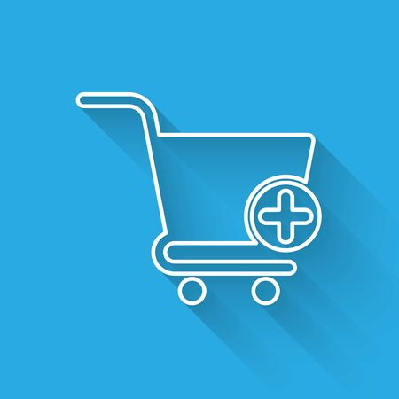 White Add to Shopping cart line icon isolated with long shadow. Online buying concept. Delivery service sign. Supermarket basket symbol. Vector Illustration