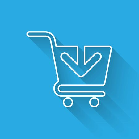 White Add to Shopping cart line icon isolated with long shadow. Online buying concept. Delivery service sign. Supermarket basket symbol. Vector Illustration Foto de archivo - 125316510