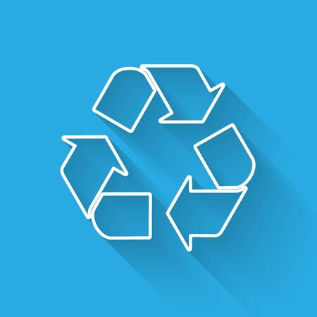 White Recycle symbol line icon isolated with long shadow. Circular arrow icon. Environment recyclable go green. Vector Illustration Illusztráció