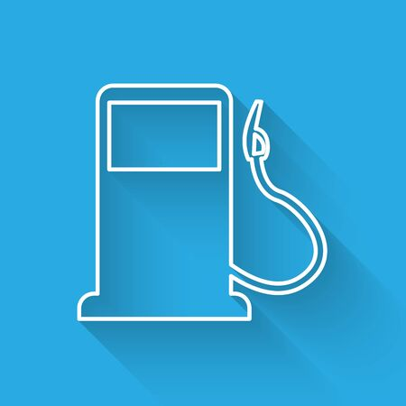 White Petrol or Gas station line icon isolated with long shadow. Car fuel symbol. Gasoline pump. Vector Illustration