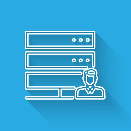 White Customer care server line icon isolated with long shadow. Tech support concept with male operator. Call center sign. Vector Illustration Foto de archivo - 125319025