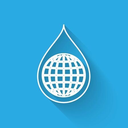 White Earth planet in water drop line icon isolated with long shadow. World globe and water drop. Saving water and world environmental protection. Vector Illustration