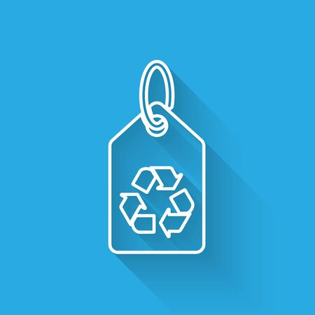 White Tag with recycle symbol line icon isolated with long shadow. Banner, label, tag, logo, sticker for eco green. Vector Illustration Illusztráció