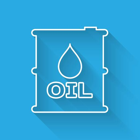 White Oil barrel line icon isolated with long shadow. Oil drum container. For infographics, fuel, industry, power, ecology. Vector Illustration