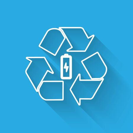 White Battery with recycle symbol line icon isolated with long shadow. Battery with recycling symbol - renewable energy concept. Vector Illustration