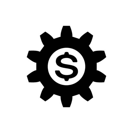 Black Gear with dollar symbol icon isolated on white background. Business and finance conceptual icon. Vector Illustration