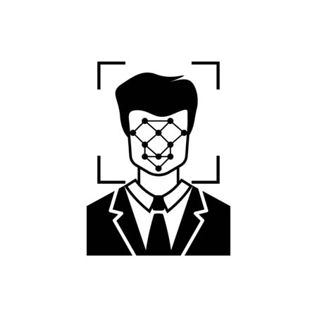Black Face recognition icon isolated on white background. Face identification scanner icon. Facial id. Cyber security concept. Vector Illustration Ilustração