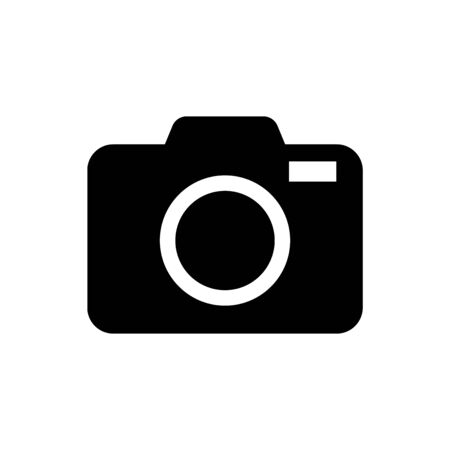 Icono de cámara de fotos negro aislado sobre fondo blanco. Icono de cámara de foto. Ilustración vectorial