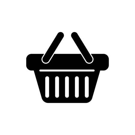 Icono de cesta de compras negro aislado sobre fondo blanco. Ilustración vectorial