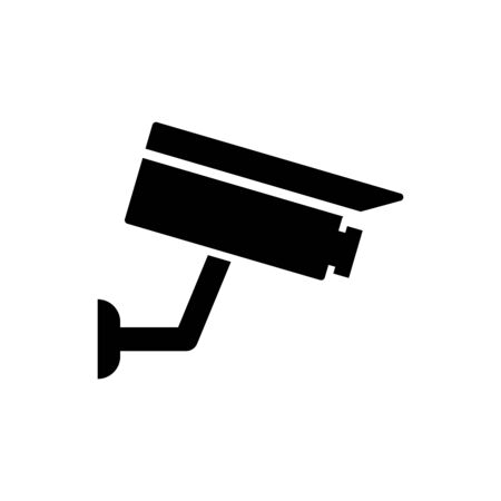 Black Security camera icon isolated on white background. Vector Illustration