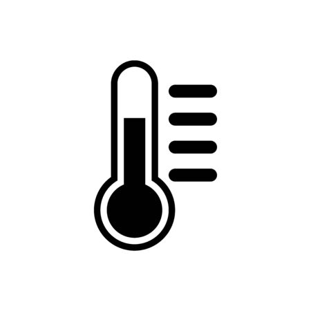 Black Thermometer icon isolated on white background. Vector Illustration