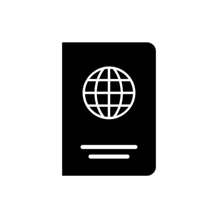 Black Passport with biometric data icon isolated on white background. Identification Document. Vector Illustration