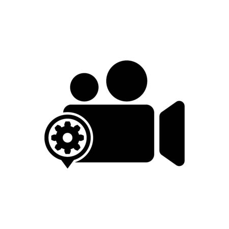Black Movie or Video camera and gear icon isolated. Adjusting app, service concept, setting options, maintenance, repair, fixing. Vector Illustration