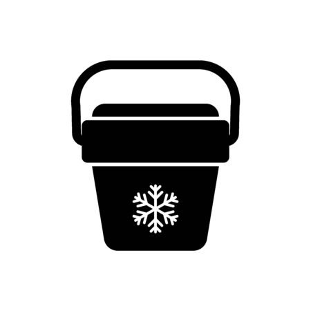 Black Cooler bag icon isolated. Portable freezer bag. Handheld refrigerator. Vector Illustration 免版税图像 - 125391624
