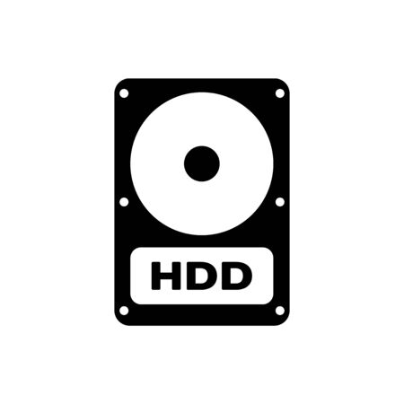 Black Hard disk drive HDD icon isolated on white background. Vector Illustration