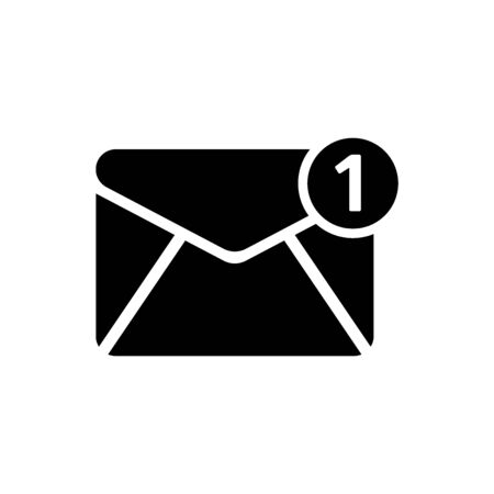 Black Envelope icon isolated on white background. Received message concept. New, email incoming message, sms. Mail delivery service. Vector Illustration