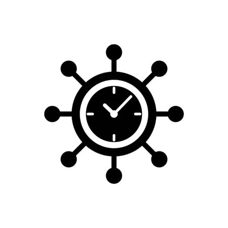 Black Clock and gear icon isolated on white background. Time Management symbol. Business concept. Hub and spokes and clock solid icon. Vector Illustration