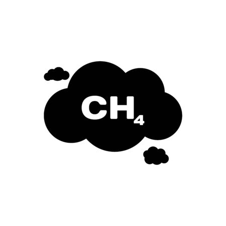 Black Methane emissions reduction icon isolated. CH4 molecule model and chemical formula. Marsh gas. Natural gas. Vector Illustration