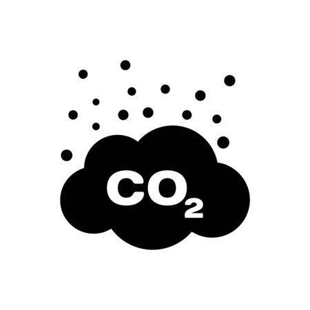 Black CO2 emissions in cloud icon isolated. Carbon dioxide formula symbol, smog pollution concept, environment concept. Vector Illustration