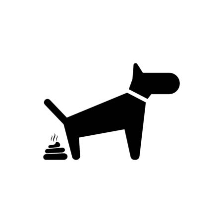 Black Dog pooping icon isolated. Dog goes to the toilet. Dog defecates. The concept of place for walking pets. Vector Illustration Illustration