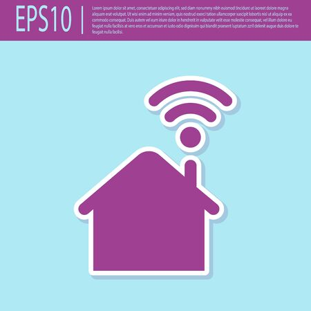 Retro purple Smart home with wi-fi icon isolated on turquoise background. Remote control. Vector Illustration