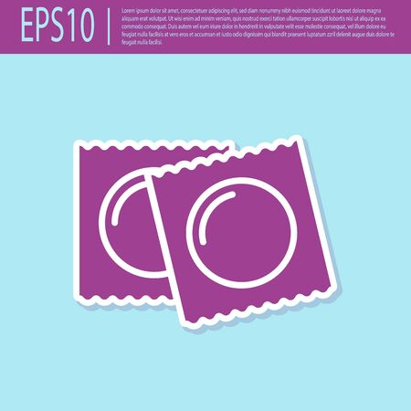 Retro purple Condoms in package safe sex icon isolated on turquoise background. Safe love symbol. Contraceptive method for male. Vector Illustration